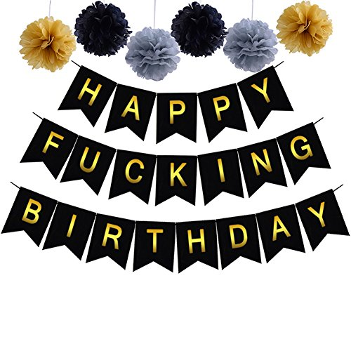 Happy Fing Birthday Decoration Banner With Black Gold Grey Pom