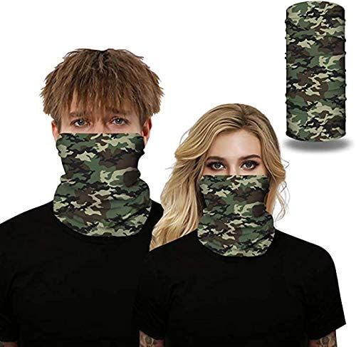 CCOOfhhc 2PCS Reusable Face Bandanas,Unisex Cotton Camouflage Print Mouth Cover with Adjustable Earloop Face Covering