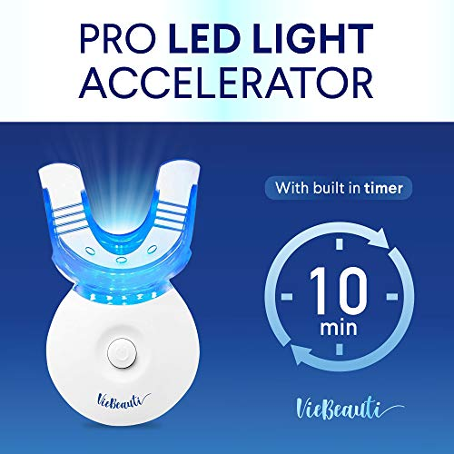 VieBeauti Teeth Whitening Kit  5X LED Light Tooth Whitener with 35 Carbamide Peroxide Mouth Trays