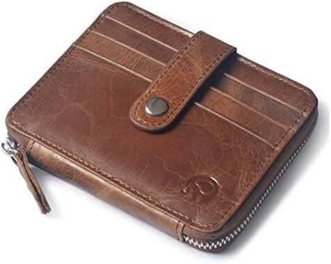 Badiya Retro Men's Genuine Leather Coin Purse with Card Holder Zipper Pouch Wallet