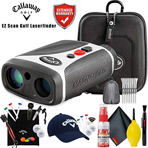 Callaway EZ Scan Golf Laser Rangefinder with 30-Pack Performance Tees, Golf Tour Hat Gift Set, Starter Gift Set, Backpack, Cleaning Kit and Extended Warranty