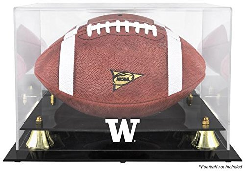 Sports Memorabilia Washington Huskies Golden Classic Football Display Case with Mirror Back - College Football Logo Display Cases