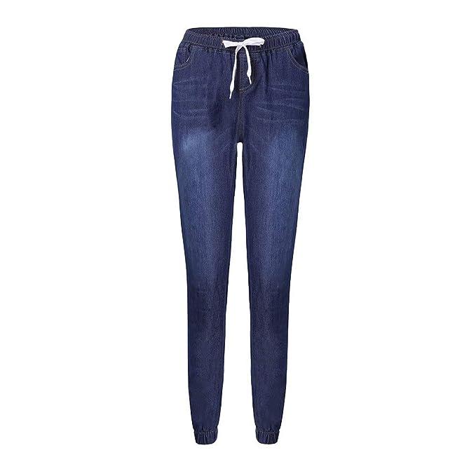 fc6934ee5c NPRADLA Vaqueros Jeans Tendencia Mujeres Otoño Elastic Plus Flojo Denim  Casual Drawstring Jeans Recortados Elegante Moda Fresco Casual Azul Oscuro  M  ...