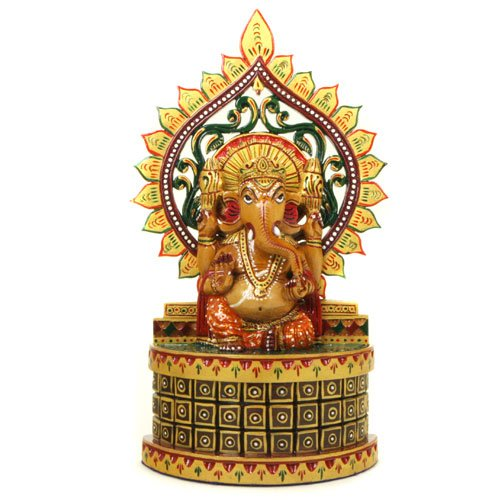 Ganesh Statue Carved - Hand Carved & Hand Painted Wooden Ganesh Statue