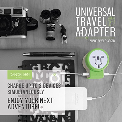 Dandelion Travel adapter Outlet adapter travel accessory with dual USB ports Universal Charger (UK, US, AU, Europe & Asia) International Power Plug Adapter with safety fuse - great travel gift (Green) by Dandelion (Image #1)
