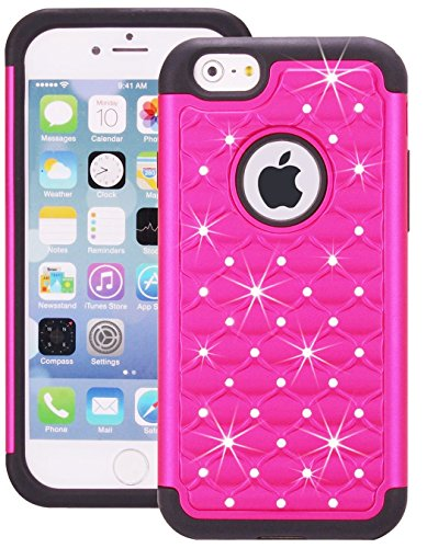 iPhone 6 Case, MEKO Rhinestone Crystal Bling Hybrid Armor Case [Shockproof] PC and TPU Protection Covers for Apple iPhone 6 (4.7) - Hot (Hot Pink Crystal)