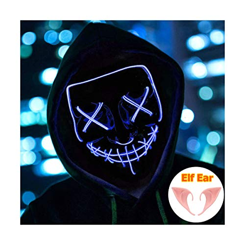 Halloween Mask Light up Mask Cosplay LED Mask Frightening Purge Mask for Festival Cosplay Halloween Parties Costume -