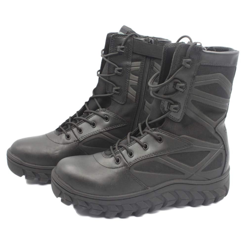 DSFGHE Herrenstiefel Militärkampfstiefel Taktischer Atmungsaktiver Reißverschluss Schuhe Leichte Wüste Arbeitsstiefel Hohe Schneestiefel