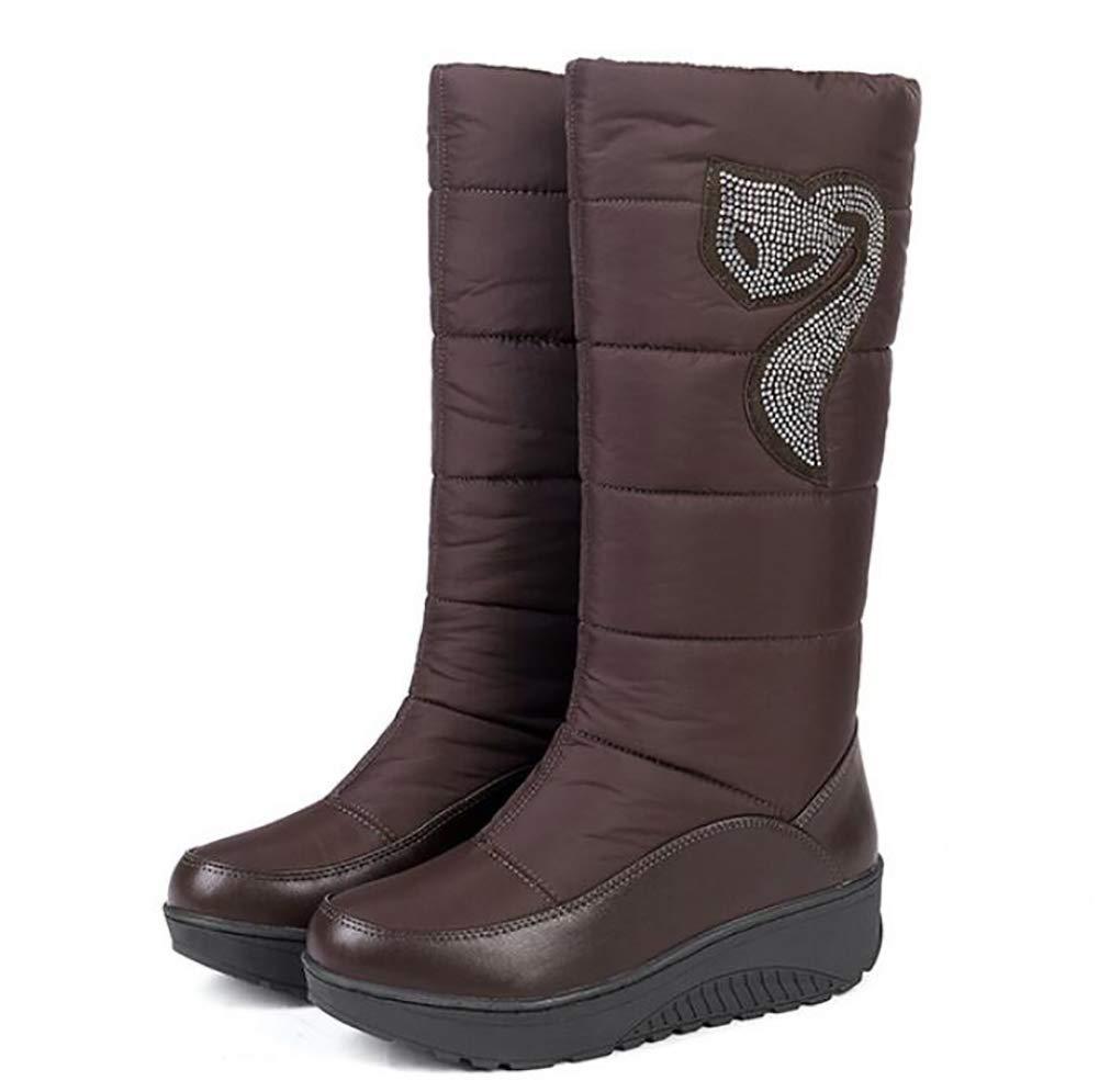 Oudan Damen Schneestiefel Winter Warm Schuhe Plüsch Verdicken Rutschfest Wasserdicht Frauen Stiefel braun 39 (Farbe   Braun Größe   39)