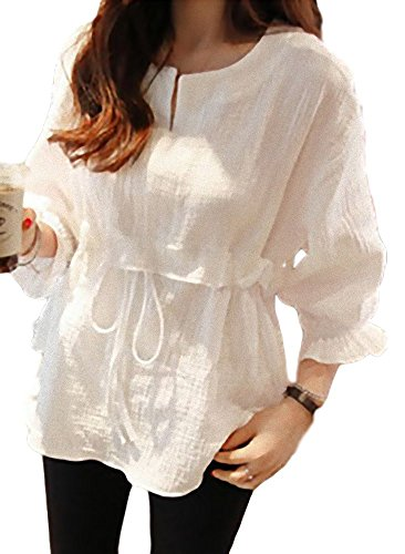 リボン結紮傑出したapplesnow(アップルスノー) ブラウス ドレス シャツ ゆったり ロング 丈 長袖 バルーン 袖 チュニック (XL, 白)