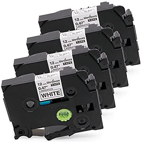 Wonfoucs 4 Pack Compatible Brother TZe Laminated Label Tape TZe 231 TZe-231 TZe231 for PT-D210 PT-H100 Labeler, Black on White, 0.47 Inch (12mm) x 26.2 Feet - White Tz Tape