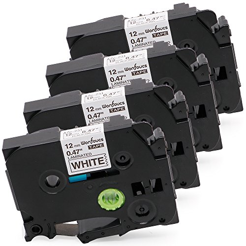 Replace 12mm 0.47 Inch TZe TZ Laminated White Brother Label Maker Tape Work with Brother P-Touch PT-D210 PT-H100 PT-1880 Label Tape, 4-Pack ()