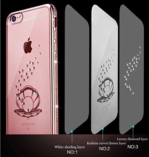 para iPhone 6 Plus Cubierta de la caja del caucho, para iPhone 6s Plus Claro Rhinestone caso TPU de la contraportada del brillo de Bling Con Diseño, Vandot Elegante de Lujo (Oro rosa) Chapado Electrop Color 14