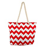 Lux Accessories Womens Extra Large Zip Up Beach Tote Bag Orange Red White