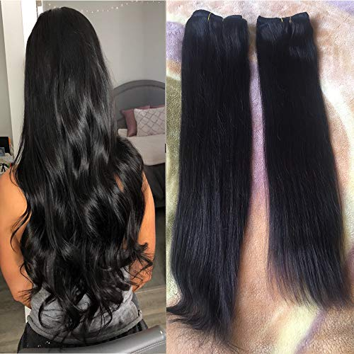 18-22 inch Natural Black Hair Extensions Remy Clip in Human Hair Double Weft Real Clip in Human Hair Extensions 100 Natural Hair 22 inch #1B 7 Pieces 120g ()
