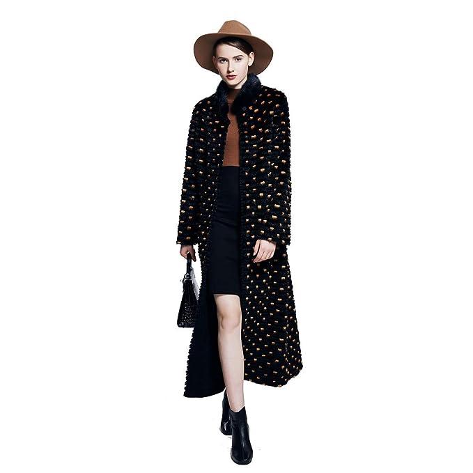 URSFUR Chaqueta de invierno de mujer Real Mink Rex Conejo Fur Outwear largo abrigos: Amazon.es: Ropa y accesorios