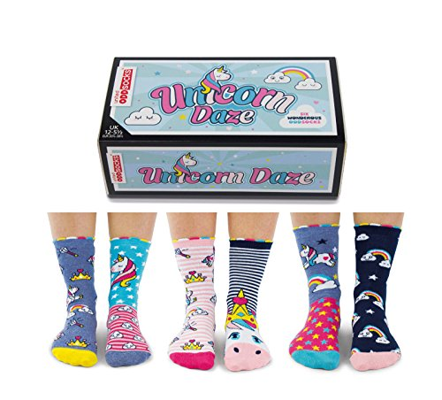 Price comparison product image United Oddsocks - Unicorn Daze - Box 6 Oddsocks For Girls UK 12-5.5