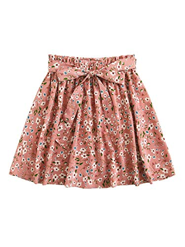 SheIn Women's Summer Floral Print Self Belted A Line Flared Skater Short Skirt Pink ()