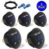 5-PACK DC 12V-26V LED Panel Digital Voltage Meter Display Voltmeter For Automotive Car Motorbike Boat ATV UTV Camper Caravans Travel Trailer BLUE