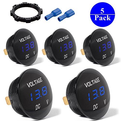 5-PACK DC 12V-26V LED Panel Digital Voltage Meter Display Voltmeter For Automotive Car Motorbike Boat ATV UTV Camper Caravans Travel Trailer BLUE by EEEKit