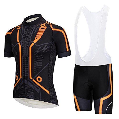 Men's Tron Cycling Jersey and Bib Shorts Set Nonslip Italia Gel Cuffs Biking Shirt Orange - Cycling Italia Jersey