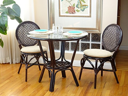3 Pc Rattan Wicker Dining Set Round Table Glass Top 2 Denver Side Chair