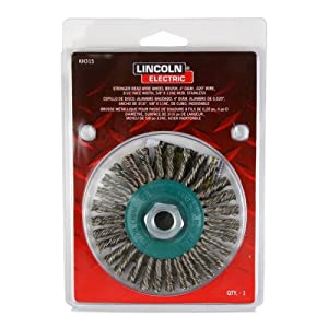 """Lincoln Electric KH315 Stainless Steel Twisted Stringer Bead Brush, 20000 rpm, 4"""" Diameter x 3/16"""" Face Width, 5/8"""" x 11 UNC Arbor (Pack of 1)"""
