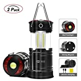 Rechargeable LED Camping Lantern, JYctrone 2019 Newest Magnetic Lantern with USB Cable, Portable Waterproof COB Tent Light 4-In-1 Flashlight Best for Emergency, Hurricane, Power Outage - 2 pack