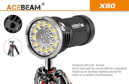 ACEBEAM X80 LED Flashlight 12x Cree XHP50.2 25000 Lumens 5-color Light Beam Flashlights Included 4 3100mah Batteries by Acebeam (Image #5)
