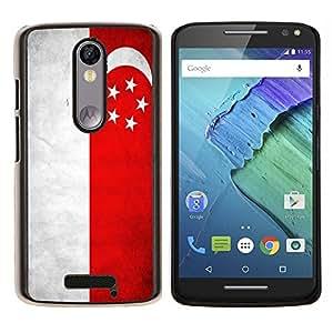 EJOOY---Cubierta de la caja de protección para la piel dura ** Motorola Moto X3 3rd Generation ** --Nacional bandera de la nación País Singapur