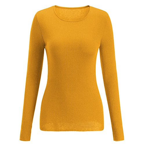 SSeary Women Crewneck Basic Lightweight Cozy Cashmere Knit Pullover Sweater(Dark Yellow L)