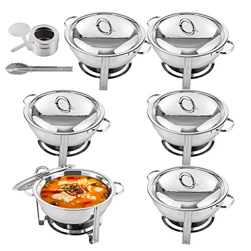 Weans 5 Quart Full Size Stainless Steel Chafing Dishes Round Chafer Buffet Catering Warmer Set w/Food and Water Pan, Lid, Solid Stand and Fuel Holder (6 Packs)