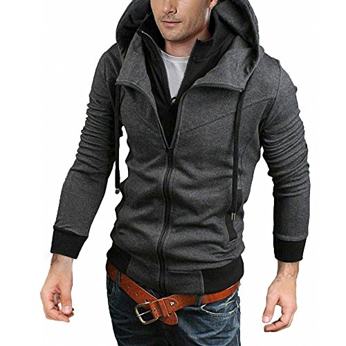 Price comparison product image Male's Oblique Zipper Hoodie Casual Top Coat Slim Fit Jacket Size XXL Light Grey