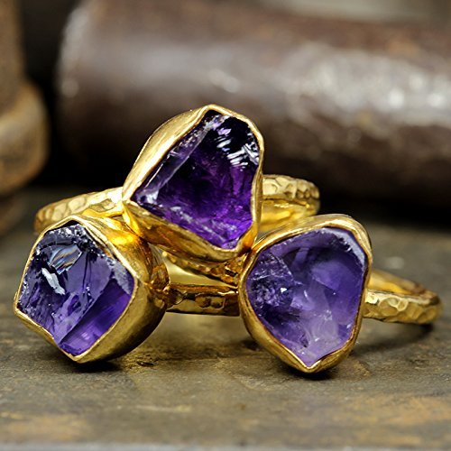 Natural Raw Amethyst Stackable Ring Set Hammered 24K Yellow Gold Vermeil 925 Sterling Silver Set of Three Rough Gemstone Stacking Set