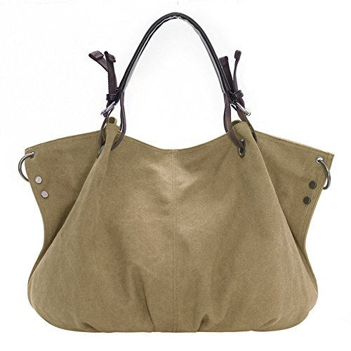 lqt Mujer Modern nostalgiche Mode Canvas grande hombro bolso bolso tornister bolsillos Khaki 1