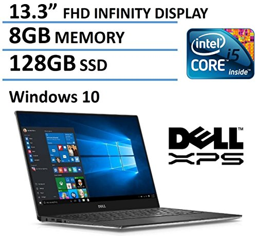 Dell XPS 13 13.3-Inch FHD IPS Infinity Borderless Display Laptop, (Intel Core i5-6200U, 8GB RAM, 128GB SSD, Backlit Keyboard, Windows...