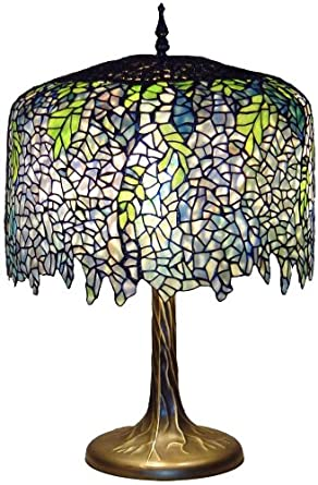 Blue Wisteria Tiffany Style Table Lamp with Tree Trunk Base ...