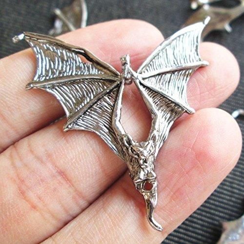 4 Pcs Silver Flying Devil Satan Bat Charms Voodoo Dark Night Halloween Charm (Bat Charms Pendants)