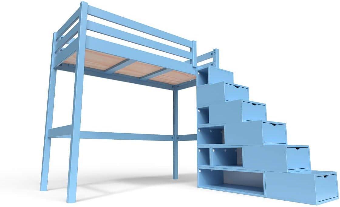 ABC MEUBLES - Cama Alta Sylvia con Escalera Cubo - Cube - Azul pálido, 90x200: Amazon.es: Juguetes y juegos