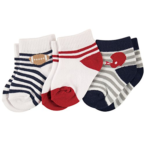Luvable Friends Baby Short Crew Socks 3-Pack, Football, 12-24 Months