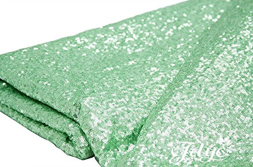 TRLYC 12 x 120 Inch Mint Sparkly Sequin Table Runner,Sequin Tablecloth Mint (Mint Green Tablecloth)
