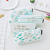 Set of 12, Students School Supply Stationery Organizer Canvas Cosmetic Bag Green Slanted Striped Diamonds Polka Dots Pencil Case(4 Case, 4 Clips, 4 Pencils)