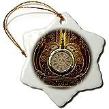 3dRose Heike Köhnen Design Steampunk - Amazing clockwork steampunk design - 3 inch Snowflake Porcelain Ornament (orn_287322_1)