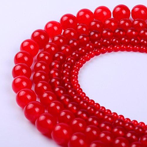 Natural Round Jade Loose Stone Beads Bulk For Jewelry Making 4MM, 6MM, 8MM, 10MM ,12MM (8MM, Red) (Red Round Strand)