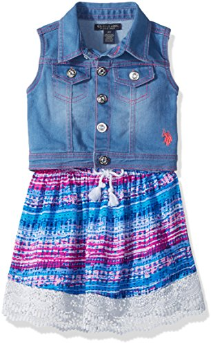 U.S. Polo Assn. Toddler Girls' Dress With Sweater Or Jacket, Light Wash Vest Printed Rayon Multi, (Wash 100 Rayon)