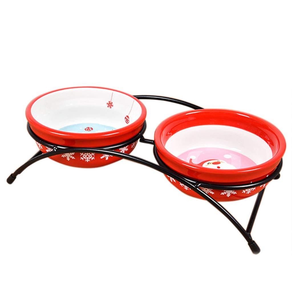Iron frame Ceramic Double Bowl Dog Supplies Dog Bowl Cat Basin Cat Food Bowl Dog Food Bowl Anti -Skid Base Pet Supply