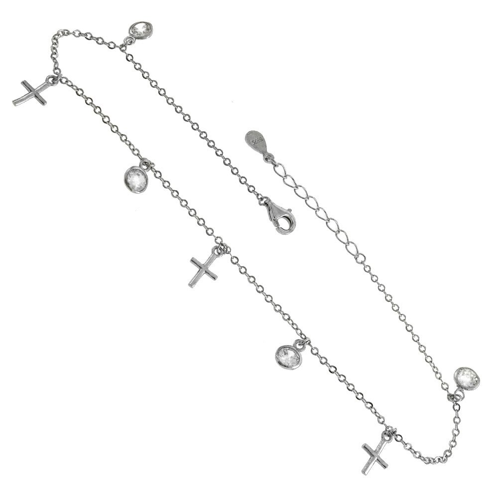 Bezel Round Cubic Zirconia With Dangling Cross Adjustable Anklet Rhodium Plated Sterling Silver