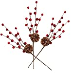 ULTNICE-Artificial-Pine-Picks-Stimulation-Red-Bubble-Berry-Pine-Cone-for-Christmas-Flower-Arrangements-Wreaths-and-Holiday-Decorations-10PCS