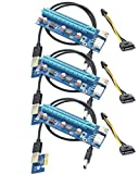 Panto 6-Pin Powered PCI-E PCI Express Riser - VER 006C - 1X to 16X PCIE USB 3.0 Adapter Card - With USB Extension Cable - GPU Graphic Card Crypto Currency Mining (3 pack)