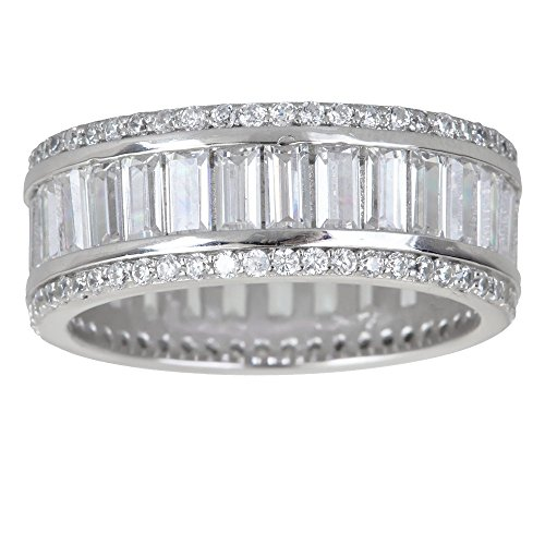 Sterling Silver Baguette & Round Cut Cubic Zirconia Eternity Band Emerald Ring (Baguette Ring)